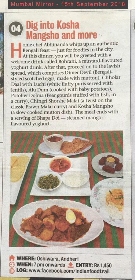 Authentic bengali dinner pop covered by Mumbai Mirror